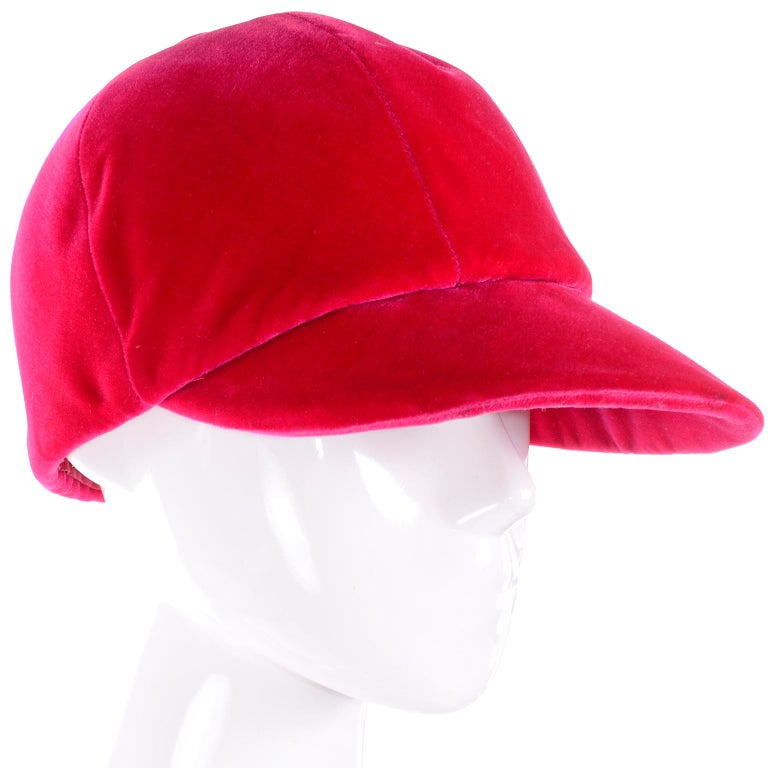 2141494f1b938 Vintage Emme Hat in Red Velvet Equestrian Riding Cap In Excellent Condition  For Sale In Portland