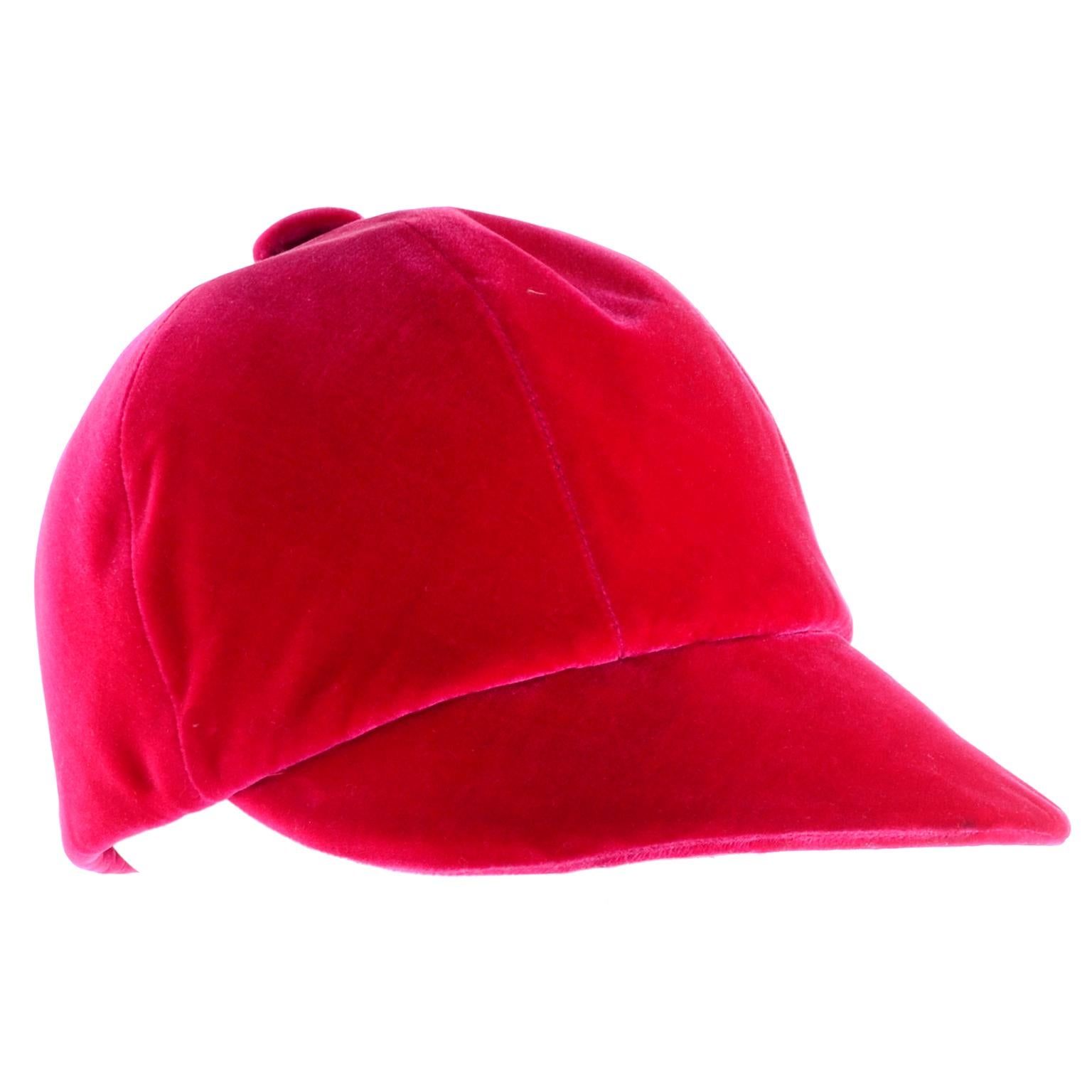 Vintage Emme Hat in Red Velvet Equestrian Riding Cap