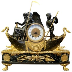 Vintage Empire Bronze and Marble Clock with Father Time