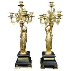 "Vintage Empire Gilt Bronze Candelabra Signed ""Salmson"""