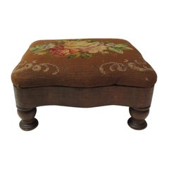 Vintage Empire Style Needlepoint Floral Tapestry Footstool