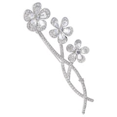 Vintage, En tremblant, Rose Cut Diamond Flower Brooch