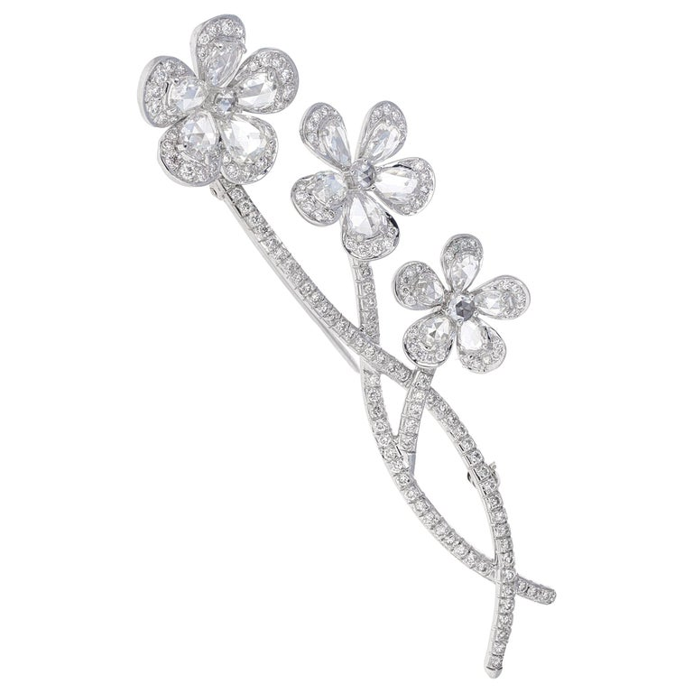 Vintage, En tremblant, Rose Cut Diamond Flower Brooch For Sale