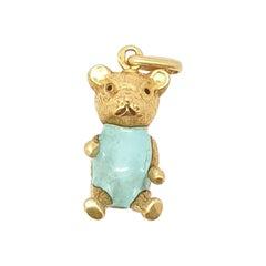 Vintage Enamel 18 Karat Teddy Charm Pendant
