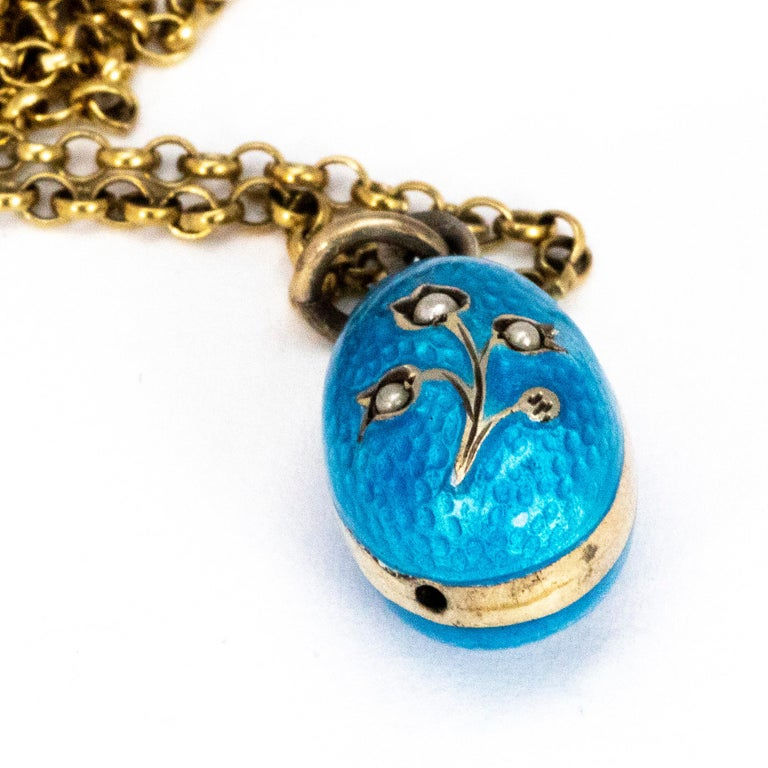 Vintage Enamel and Russian Silver Egg Pendant Necklace In Good Condition For Sale In Chipping Campden, GB
