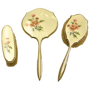 Vintage Enamel and Silver Plated Dressing Table Set, Adie Brothers, circa 1960