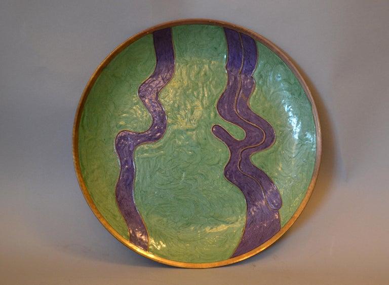 Vintage Enamel Brass Decorative Plate, Centrepiece For Sale 4
