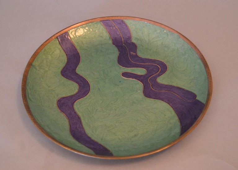Vintage enamel brass decorative plate, centrepiece. Beautifully crafted in blue and green colors.
