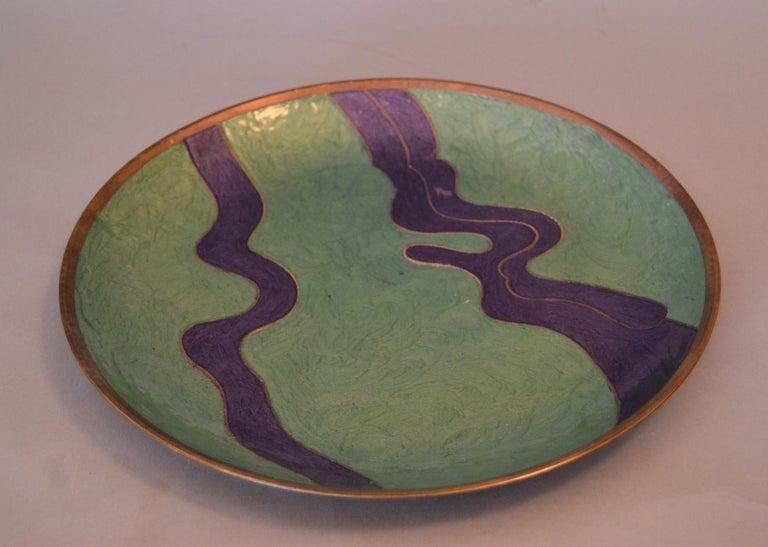 Mid-Century Modern Vintage Enamel Brass Decorative Plate, Centrepiece For Sale