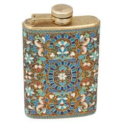 Vintage Enamel Cloisonné Hip Flask, Russian