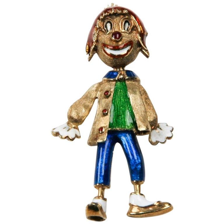 Vintage Enamel Clown Brooch by Martine in 14 Karat Yellow Gold For Sale