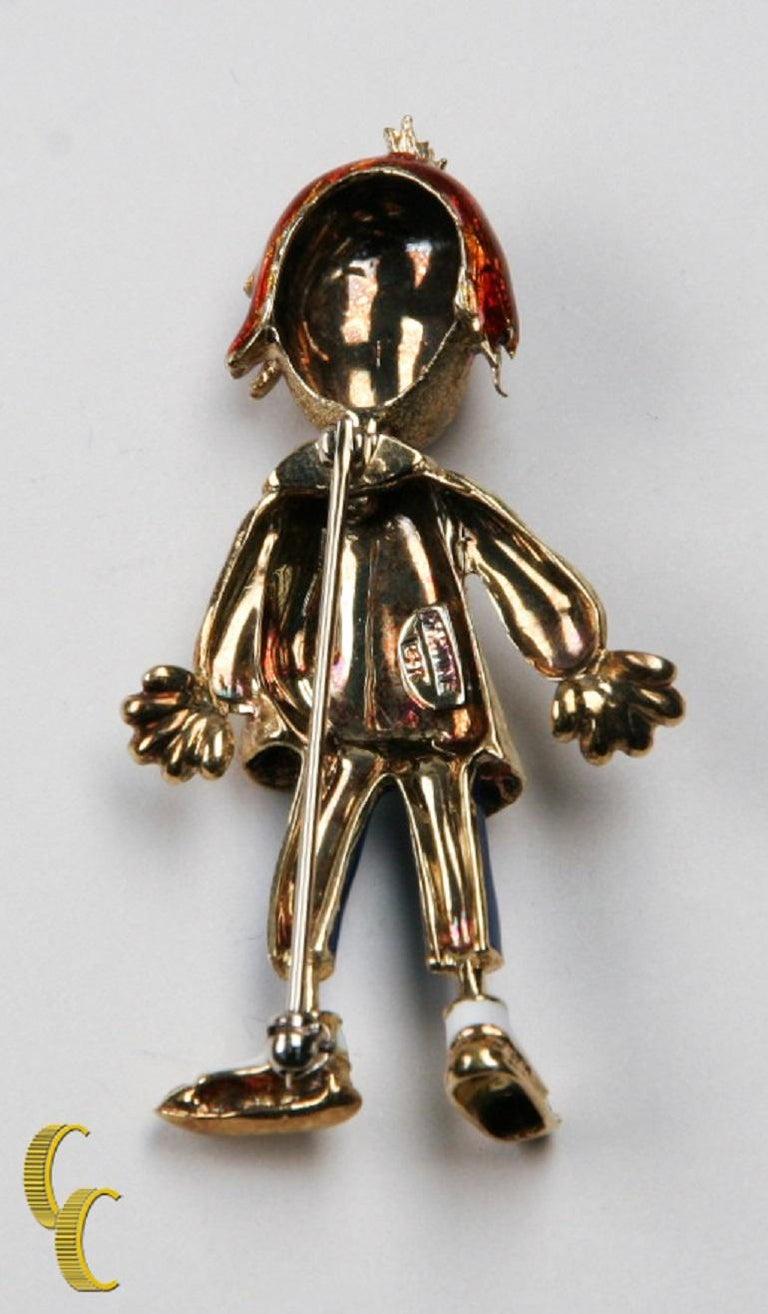 Vintage clown brooch Designer Martine  14K Gold and Enamel  Moving head  Total mass = 14.2 g