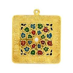 "Vintage Enamel Diamond 18 Karat Gold ""I Love You"" Charm"