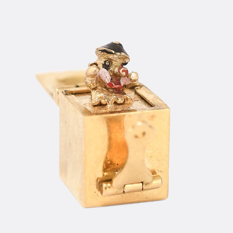 Women's or Men's Vintage Enamel Gold Jack in the Box Charm For Sale