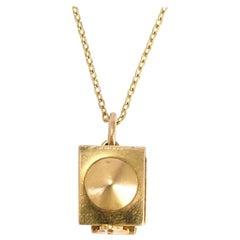 Vintage Enamel Gold Jack in the Box Charm