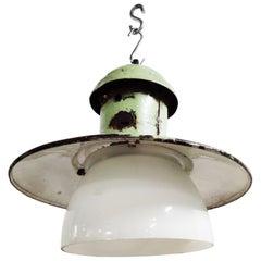 Vintage Enamel Lamp with Opaline Glass, 1960s