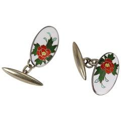 Vintage Enamel Modernist Silver Flower Chain Link Cufflinks
