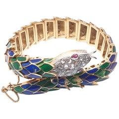 Vintage Enamel Snake 18 Karat Gold Bracelet