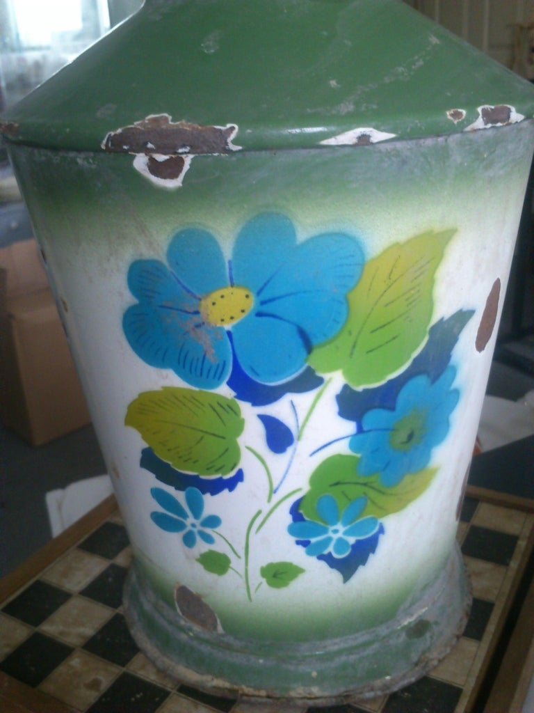 Rustic Vintage Enamel Water Can, 1950s For Sale
