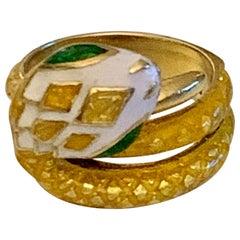 Vintage Enameled 18 Karat Yellow Gold Snake Ring