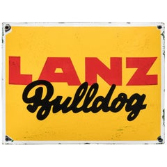 Vintage Enameled Advertising Sign Lanz Bulldog