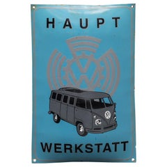 Vintage Enameled Advertising Sign VW Volkswagen