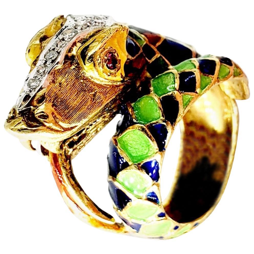 Vintage Enameled Diamond Snake Ring 18 Karat Gold