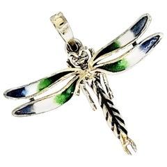 Vintage Enameled Dragonfly Pendant 14 Karat Gold