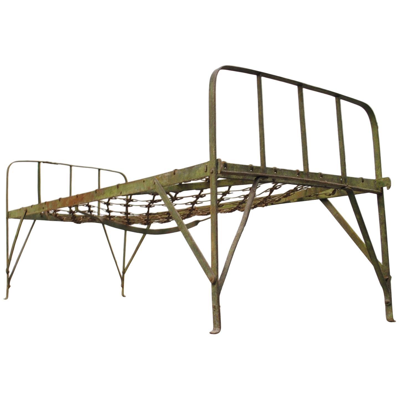 Vintage Enameled Metal Sanitarium Bed