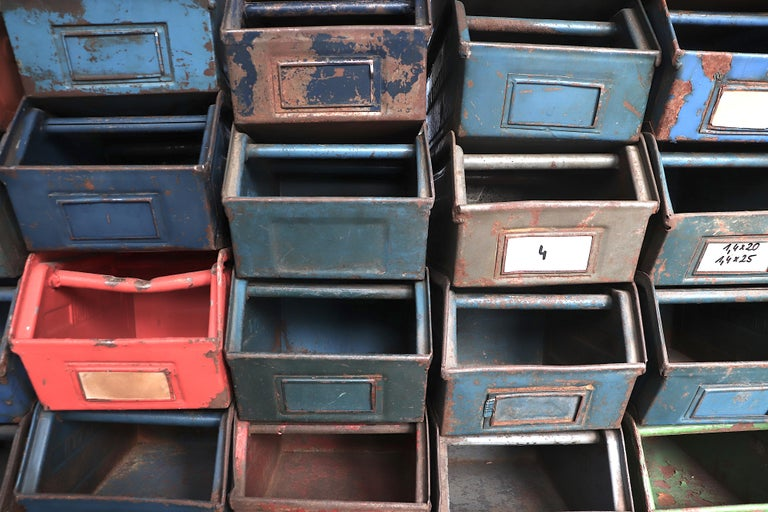 Vintage Enameled Metal Utility Bins 'small' For Sale 4