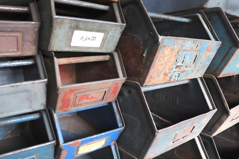 Vintage Enameled Metal Utility Bins 'small' For Sale 5