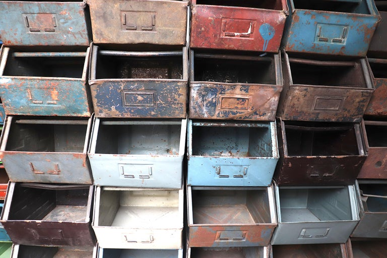 Vintage Enameled Metal Utility Bins 'small' For Sale 6
