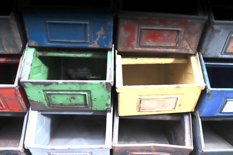 Vintage Enameled Metal Utility Bins 'small' For Sale 7