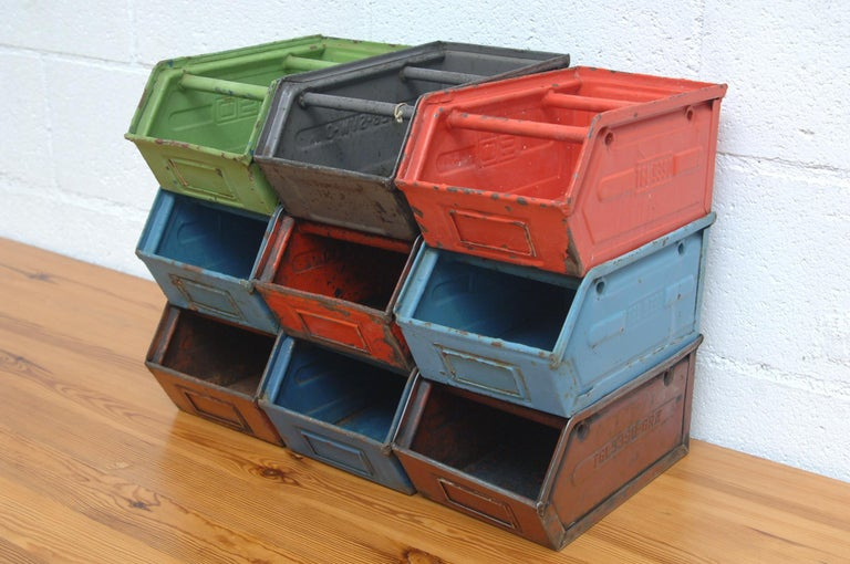 Mid-Century Modern Vintage Enameled Metal Utility Bins 'small' For Sale