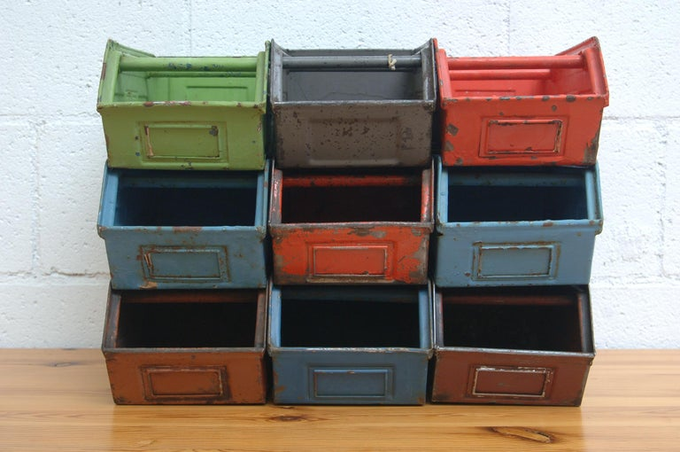 Dutch Vintage Enameled Metal Utility Bins 'small' For Sale