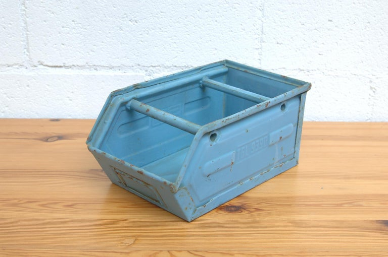 Mid-20th Century Vintage Enameled Metal Utility Bins 'small' For Sale