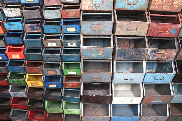 Vintage Enameled Metal Utility Bins 'small' For Sale 1