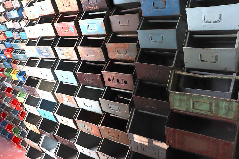 Vintage Enameled Metal Utility Bins 'small' For Sale 2