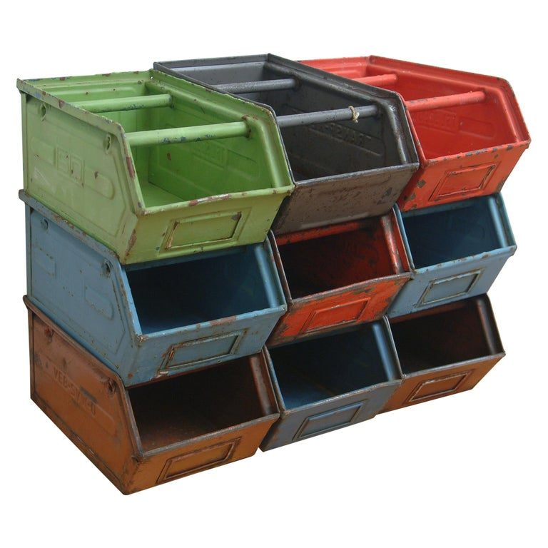 Vintage Enameled Metal Utility Bins 'small' For Sale