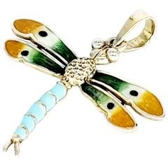 Vintage Enameled Turquoise Dragonfly Pendant 14 Karat Gold
