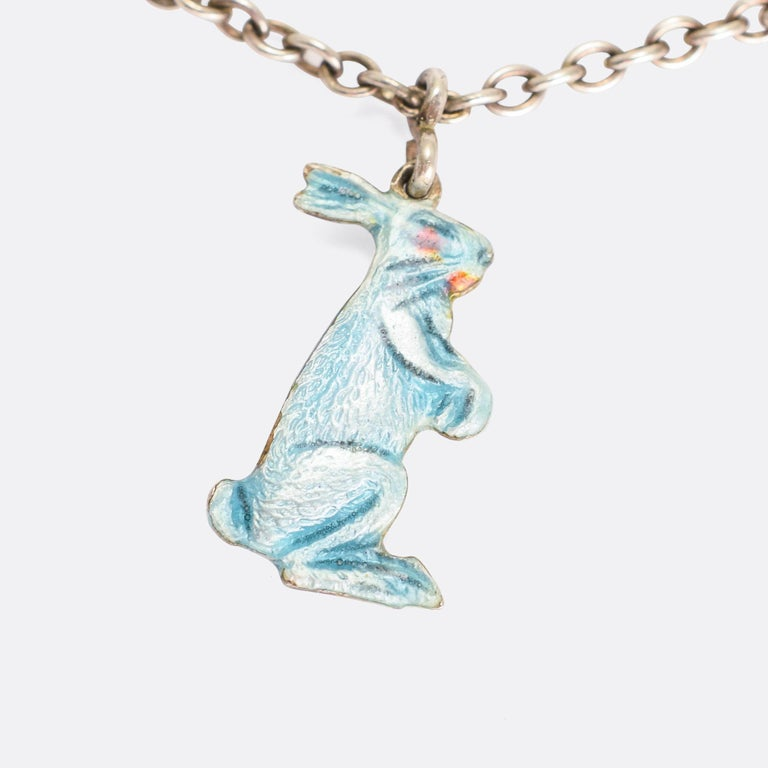 A sweet vintage charm bracelet dating from the 1930s. It features an elepahant, a polar bear, and a hare – each one with textured fur / skin and finished in light blue enamel. It's a lovely piece, fashioned in sterling silver.  MEASUREMENTS Wearable