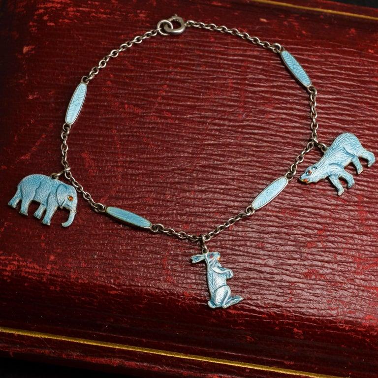"""Vintage Enamelled """"Elephant, Bear and Hare"""" Bracelet For Sale 1"""