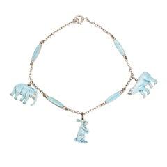 "Vintage Enamelled ""Elephant, Bear and Hare"" Bracelet"