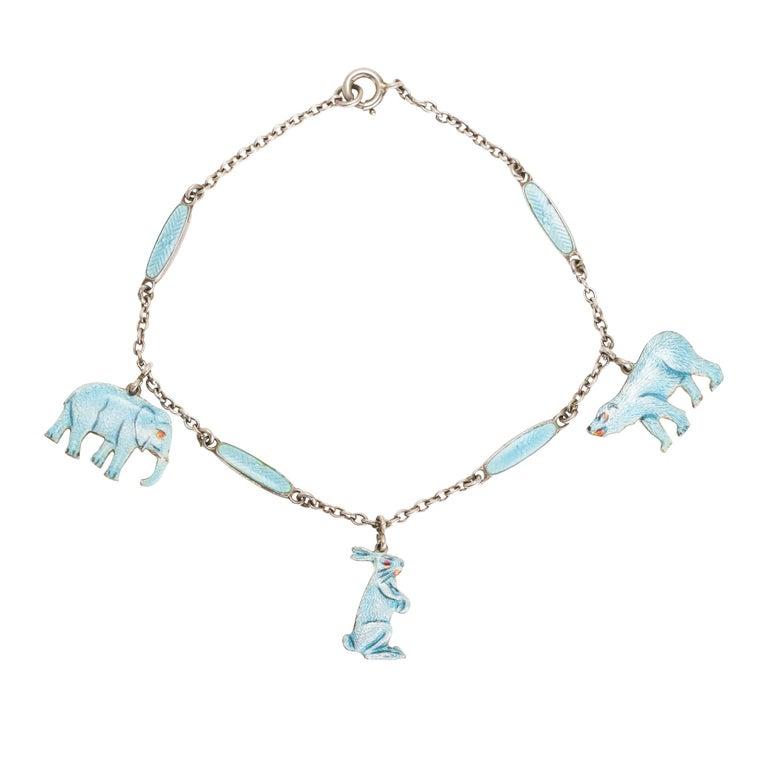 """Vintage Enamelled """"Elephant, Bear and Hare"""" Bracelet For Sale"""