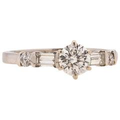 Vintage Engagement Ring 14 Karat White Gold 0.50 Carat G-SI2, circa 1960s