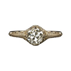 Vintage Engagement Ring GIA Certified 0.83Cts Old European Cut Diamond Gold Set