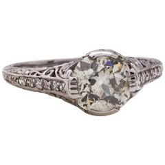 Vintage Engagement Ring Platinum 1.59 Carat Old European Cut Diamond J-SI1
