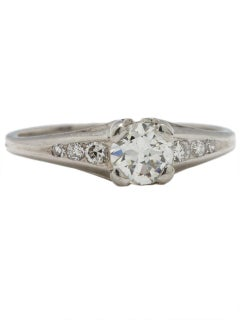 Vintage Engagement Ring Platinum .50 Carat Old European Cut H-VS2, circa 1940s