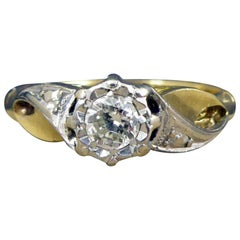 Vintage Engagement Ring Set with Solitaire Diamond on Fancy Twist Shoulders