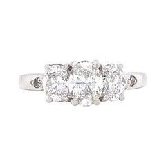 Vintage Engagement Three Stone Diamond Platinum Engagement Ring